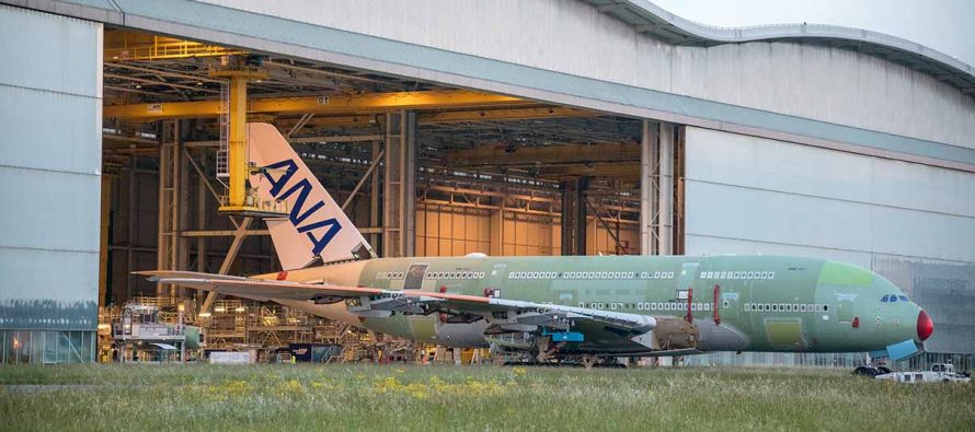 First ANA A380 rolls out of assembly hall