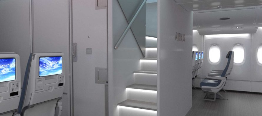 """Airbus develops package of new A380 Cabin Enablers, including """"New Forward Stairs"""" option, for A380 customers"""